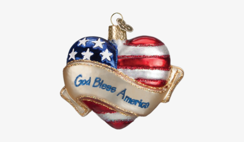 Christmas Ornament - Old World Christmas God Bless America Heart Ornament, transparent png #1011746