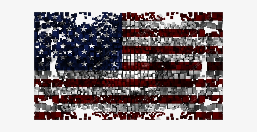 Waving American Flag Skewed - Flag Of The United States, transparent png #1012634