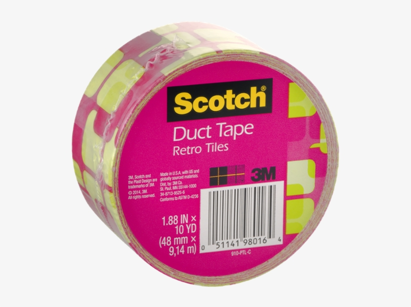 3m Scotch 1.88 In. X 10 Yds. Pink Tiles Duct Tape, transparent png #1015211