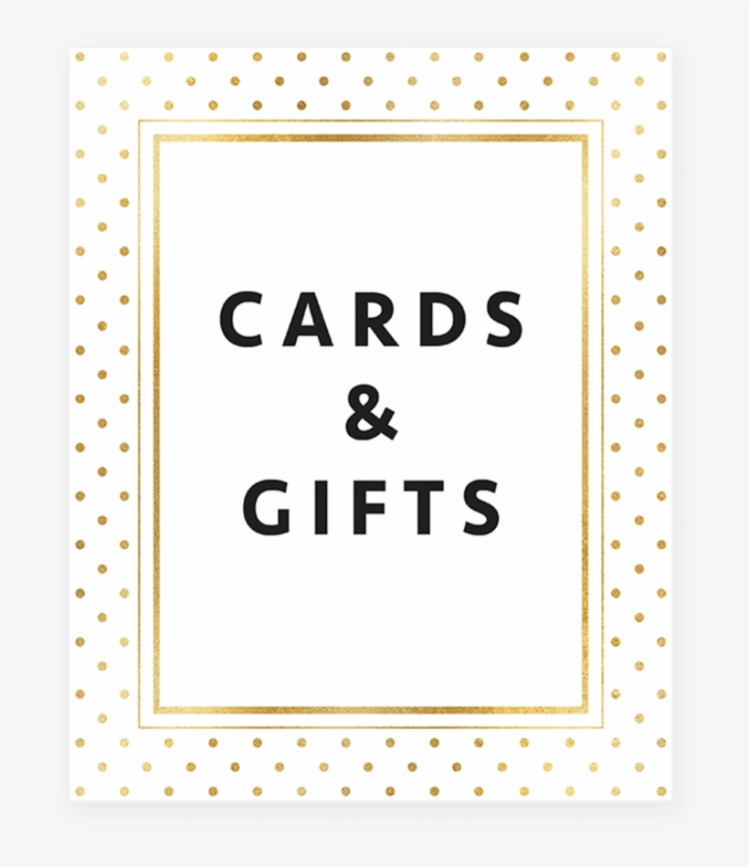 picture regarding Cards and Gifts Sign Printable named Gold Polka Dots Shower Playing cards And Presents Signal Printable