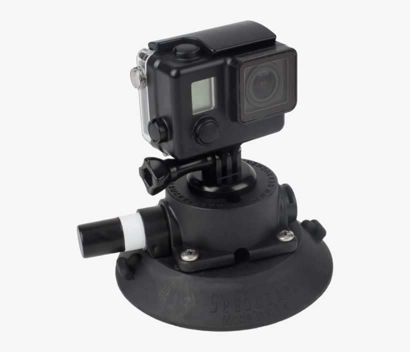 114 Mm Seasucker Go Pro Mount With Go Pro Camera Installed - Helmet Camera, transparent png #10119121
