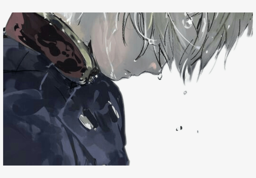 Anime Animeboy Whitehair Lookingdown Sweat Tears - Anime Boy White Hair, transparent png #10122803