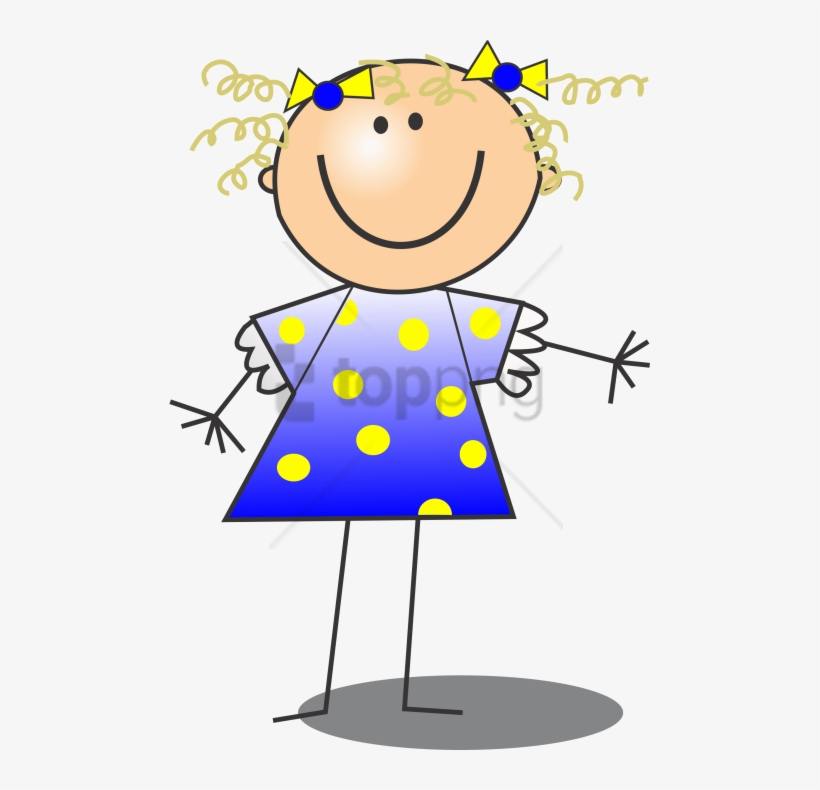 Stick Figure Girl With Curly Hair, transparent png #10123067