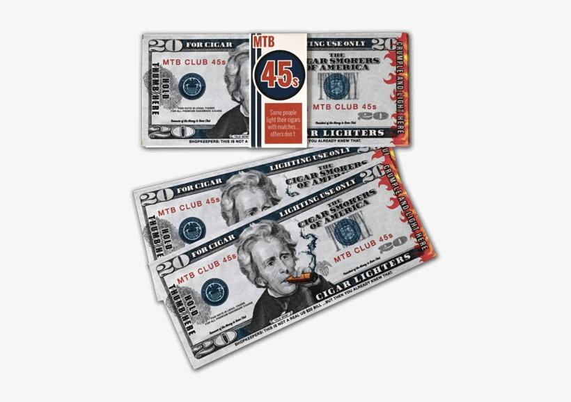 Money To Burn Club Mtb 45s $20 Novelty Cigar Lighters - 20 Dollar Bill, transparent png #1021745