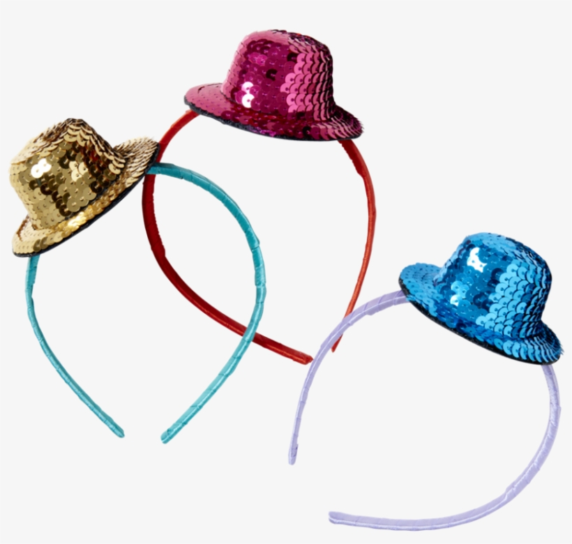 Hairband With Sequined Top Hat In Blue, Gold, Or Red - Hat, transparent png #1022525