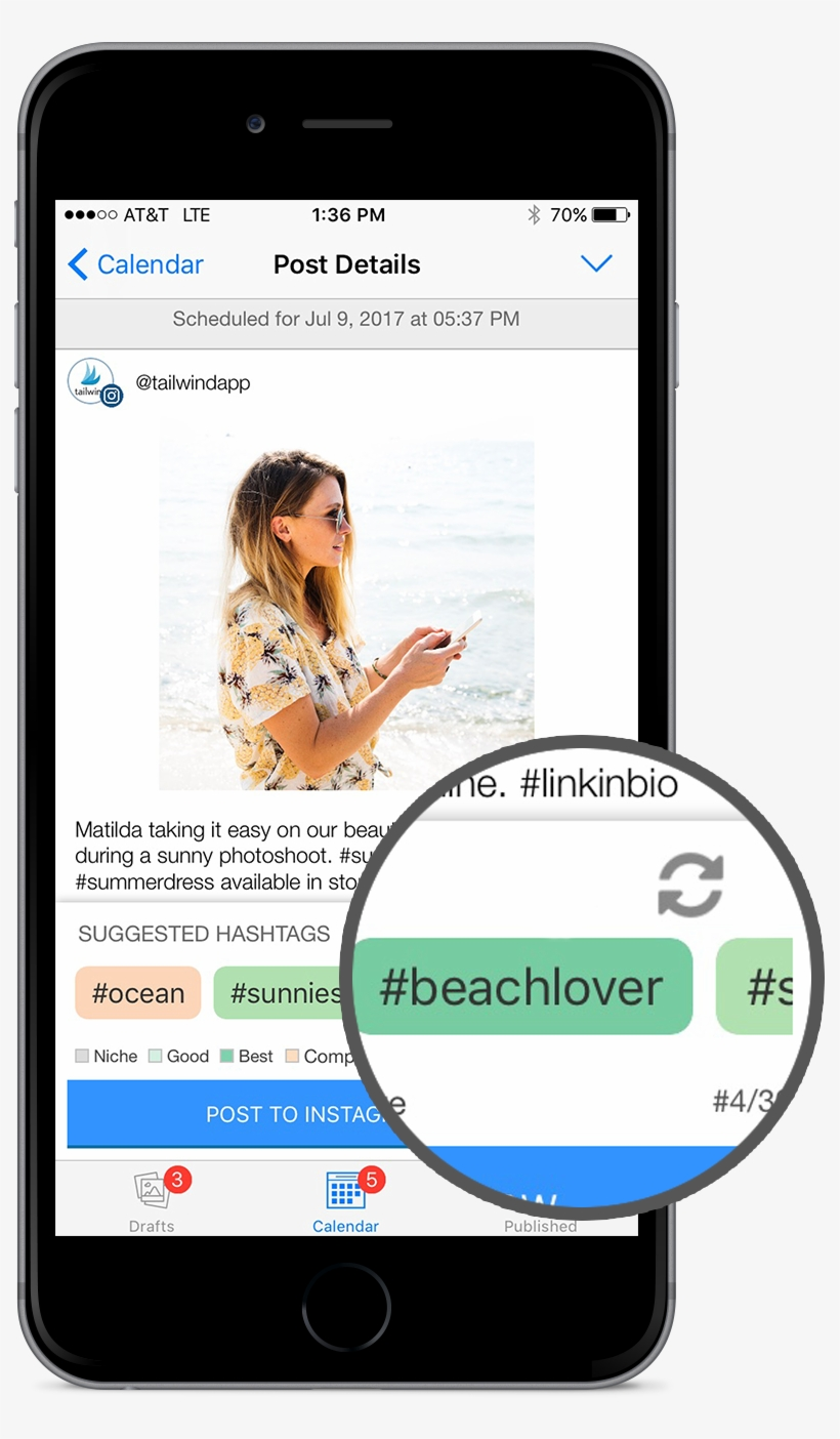 The Tailwind App Features Hashtag Finder And A Shuffle - Iphone Hashtag Images App, transparent png #1024513