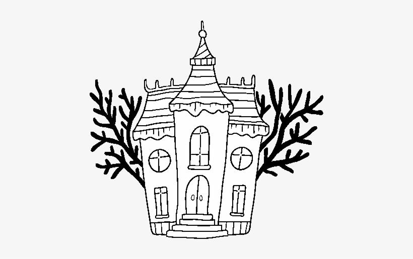 Haunted Halloween Mansion Coloring Page Halloween Para Dibujar