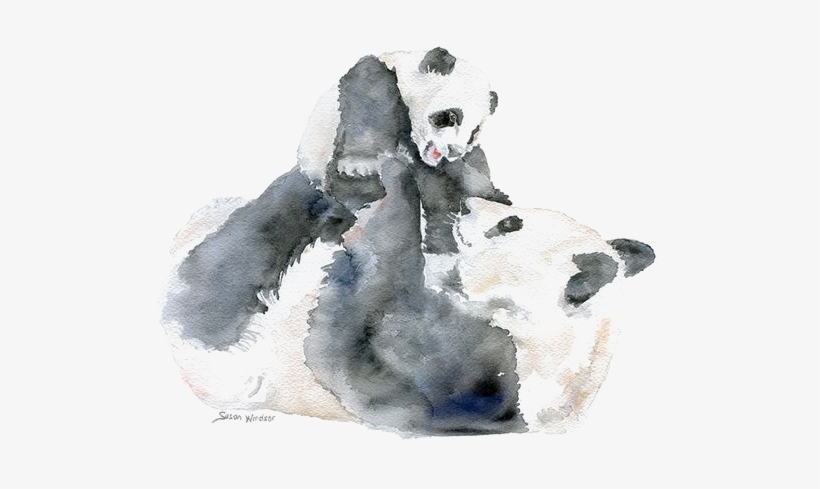 Giant Panda Bear Watercolor Painting Infant Mother - Baby Animals Watercolour Painting, transparent png #1027259