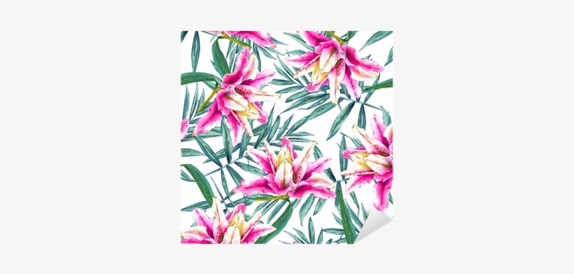 Seamless Tropical Floral Pattern - Watercolor Painting, transparent png #1027750