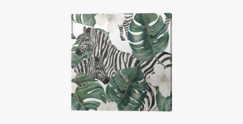 Watercolor Painting Seamless Pattern With Tropical - Zebra Watercolor Pattern, transparent png #1031272