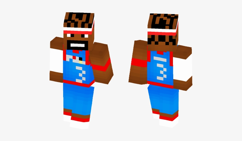 Install Allen Iverson [76ers Alternate] Skin Instruction - Minecraft Plague Doctor Skin, transparent png #1034171