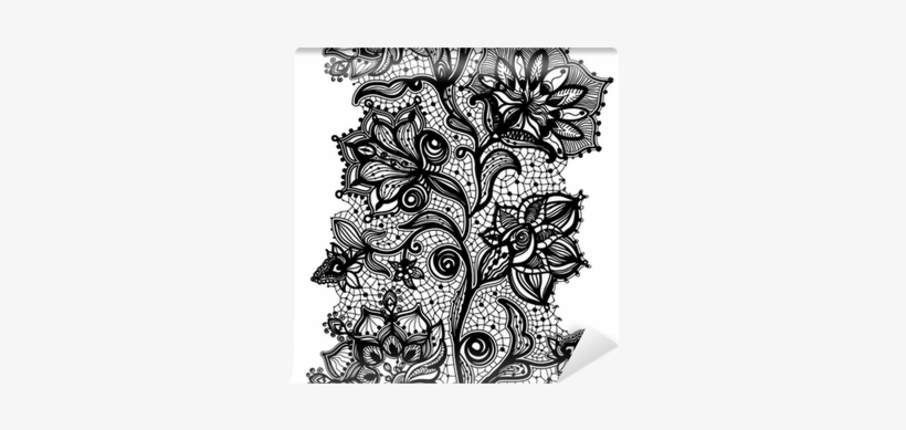 Abstract Lace Ribbon Seamless Pattern With Elements - Lace Tattoo Bracelet, transparent png #1034843