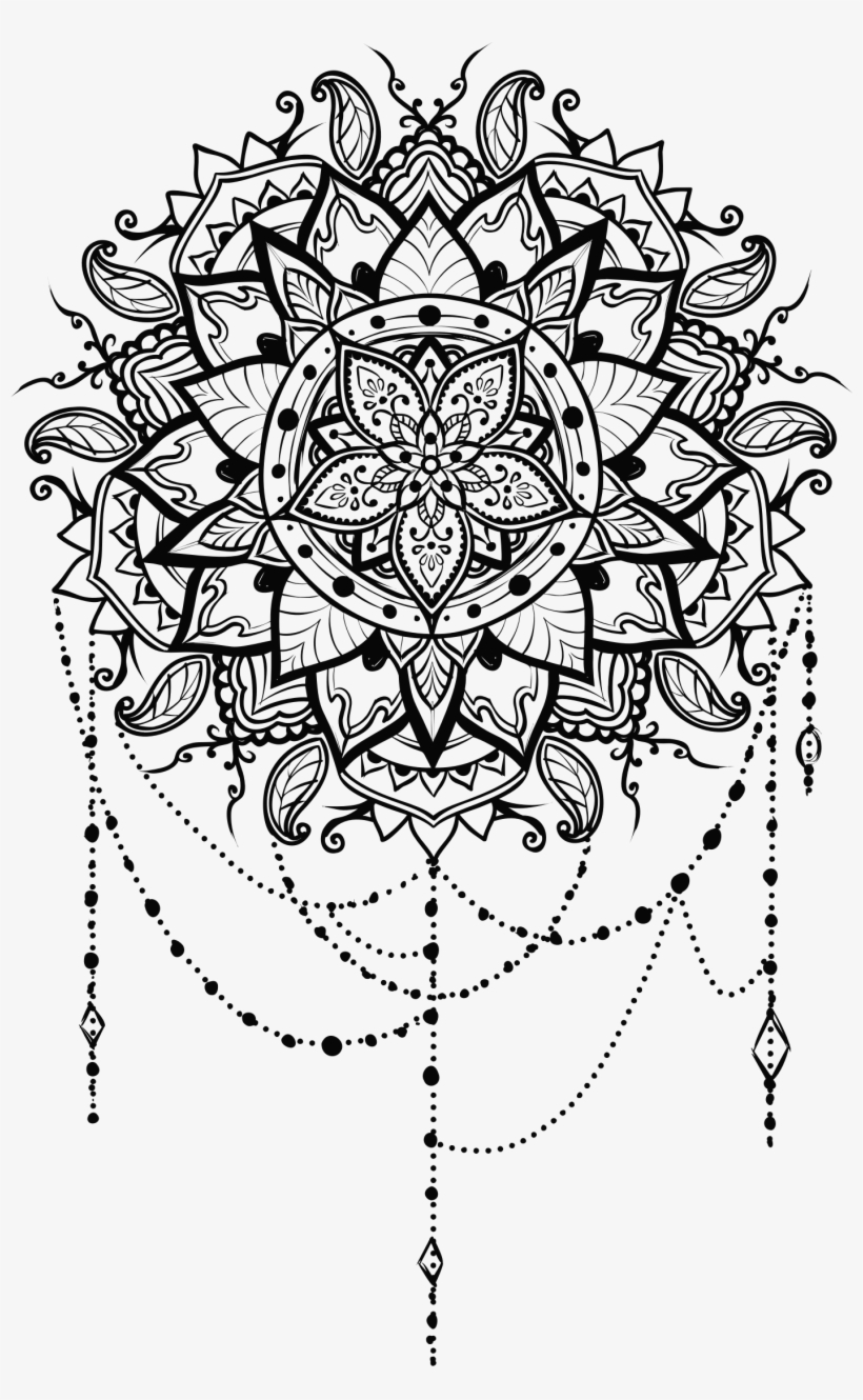 Intricate Floral Mandala Clip Black And White - Floral Mandala Png, transparent png #1035306