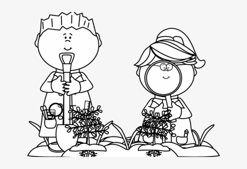 Black And White Kids Looking For Bugs - Kid Scientist Clipart Black And White, transparent png #1035352