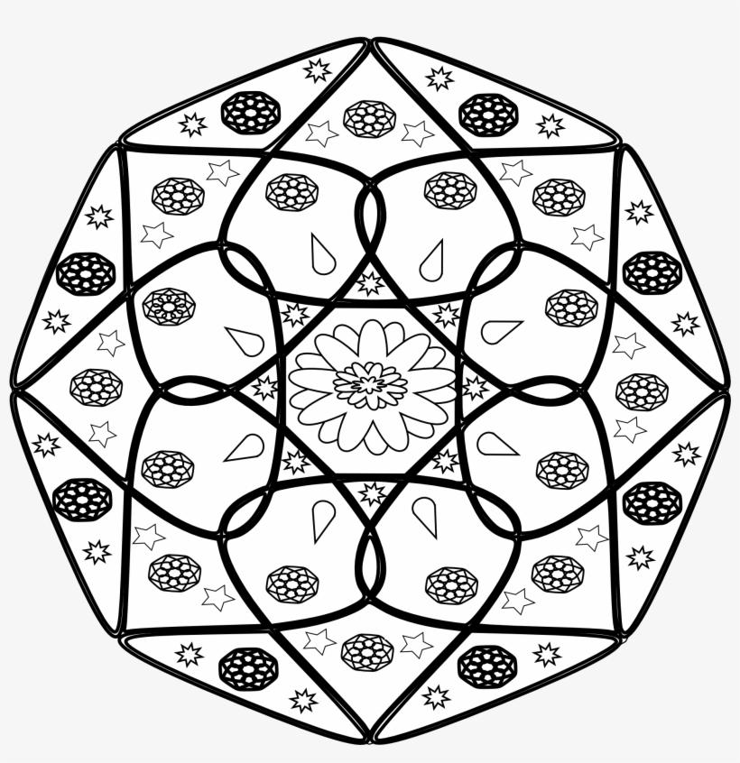 Mandala Black White Line Art Flag 999px 348