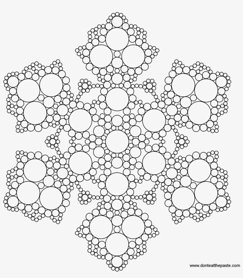 Snowflakes To Color - Snowflake Mandala Coloring Page, transparent png #1036473