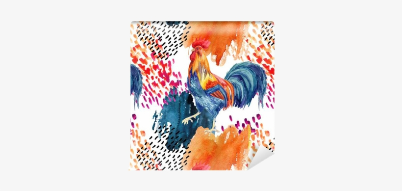 Abstract Watercolor Rooster Seamless Pattern Wallpaper - Watercolor Painting, transparent png #1037943