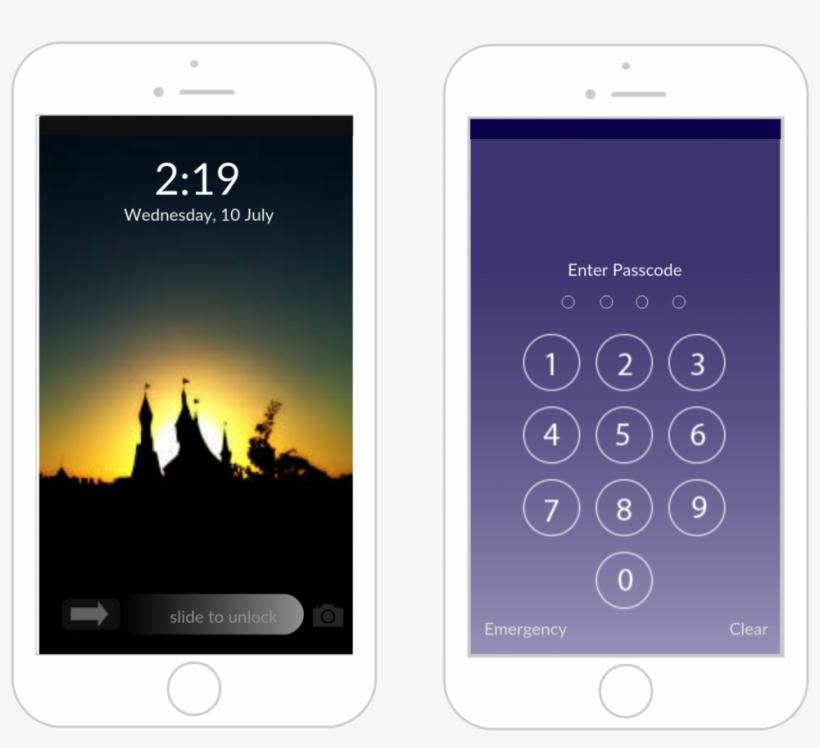 Iphone Lock Screen Mockup - Iphone 8 Lock Screen Template, transparent png #1038516