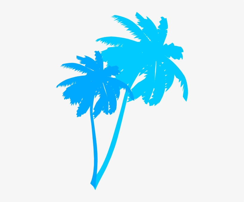 Vector Palm Trees Clip Art - Blue Palm Tree Vector, transparent png #1041993