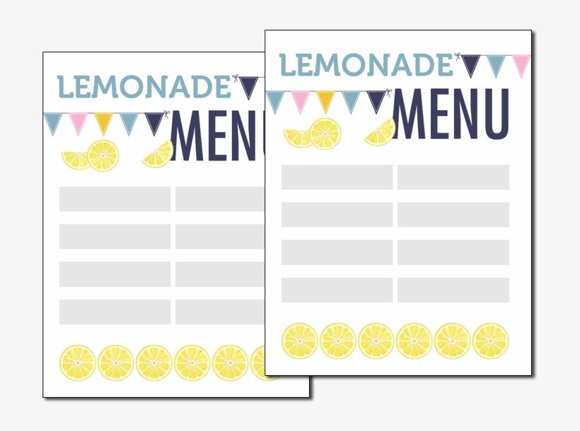 Lemonade Stand Menu - Printable Lemonade Stand Template, transparent png #1045685