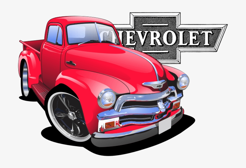 Chevy Pick Up - Old School Car Cartoon Car Drawing, transparent png #1046511