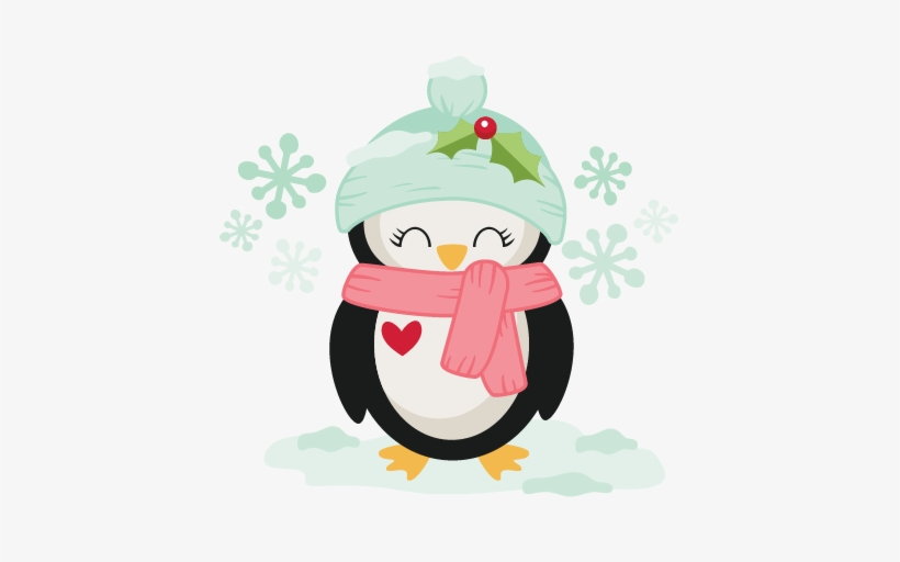 Winter Christmas Penguin Svg Scrapbook Cut File Cute - Cute Christmas Penguin Clipart, transparent png #1053329