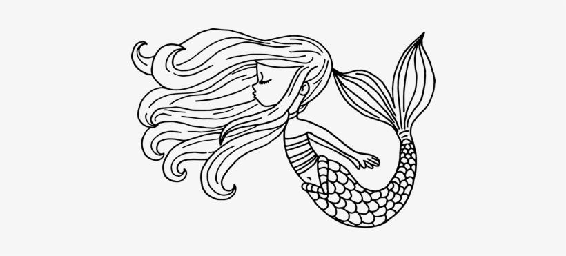 Dibujo De Sirena Flotando Para Colorear   Sirenas Para Colorear