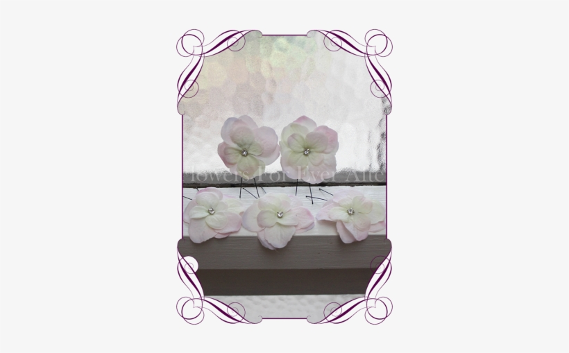 Blush Pink Hydrangea Flower And Bling Hair Pins - Pink Rose Groom Boutonniere, transparent png #1059583