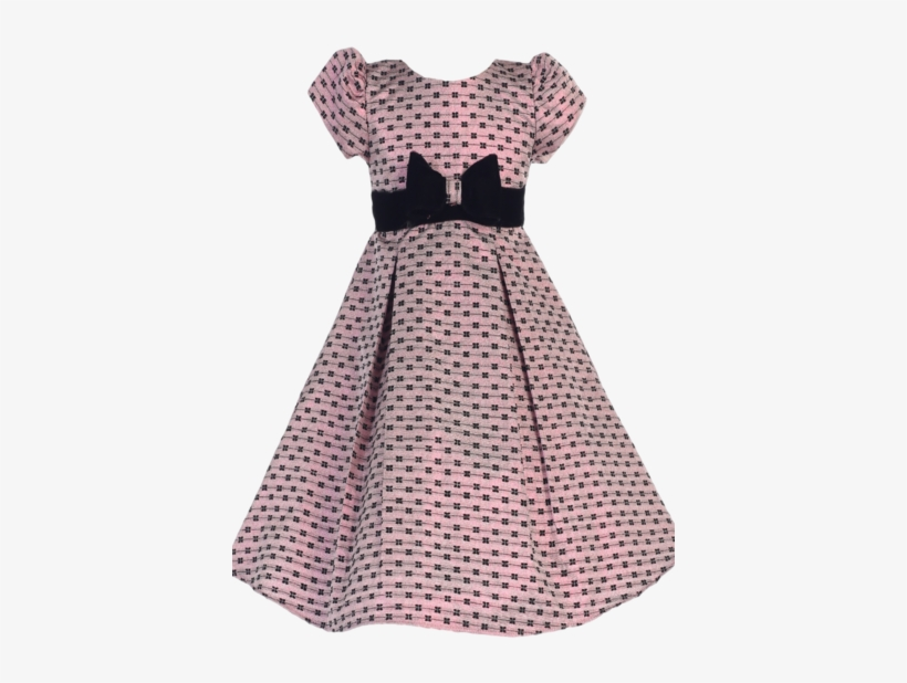 a28d02ce8 Pink Bow Design Jacquard Girls Pleated Holiday Dress - Dwellstudio ...