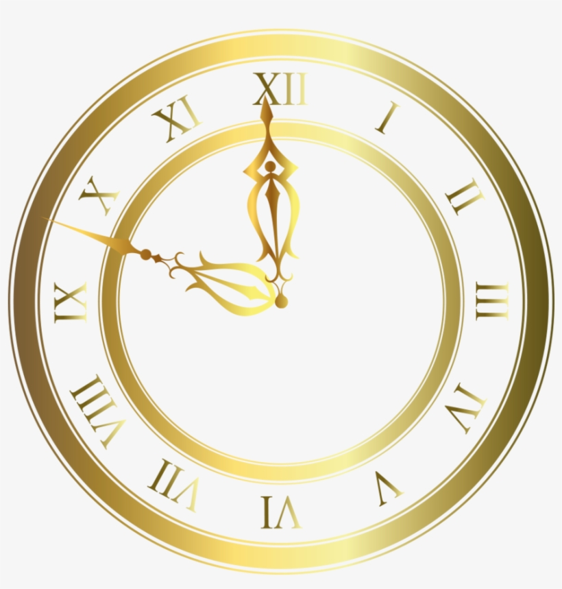 Steampunk Clipart Gold - Gold Clock Transparent Background, transparent png #1066980