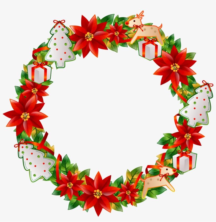 Flower Circle Png Wreath Transp Free Image Freeuse - Christmas Flower Circle Png, transparent png #1081096