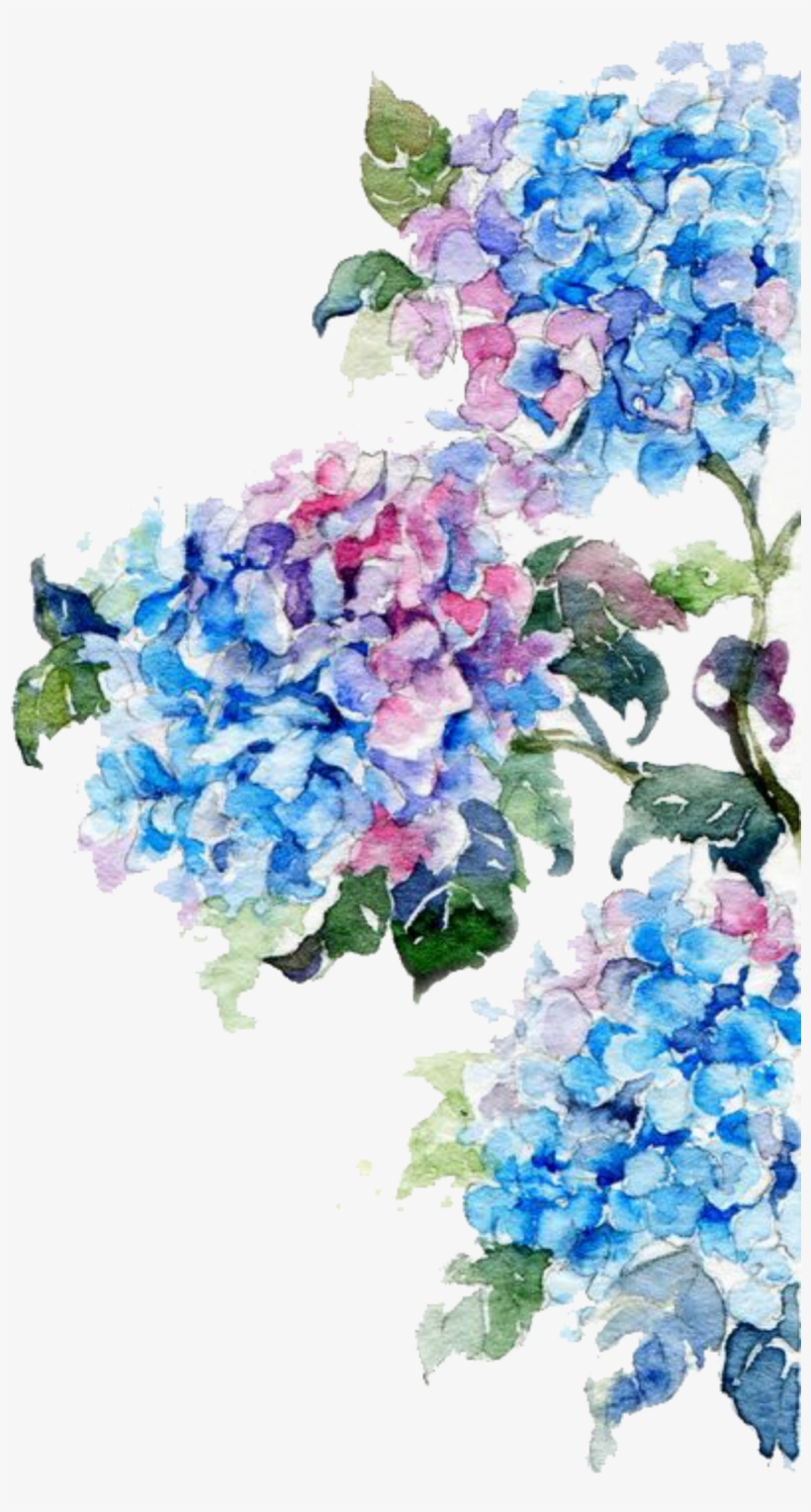 Ftestickers Flowers Border Edging Springcolors - Watercolor Flowers Blue Png, transparent png #1085948