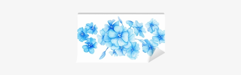 Blue Hydrangea Watercolor Illustration Wall Mural • - Hydrangea Png Small Watercolour Hydrangea, transparent png #1085976