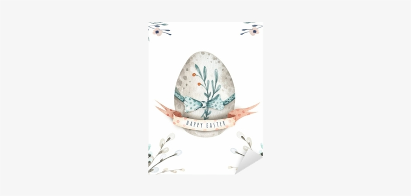 Hand Drawing Easter Watercolor Eggs With Leaves, Branches - Watercolor Painting, transparent png #1087689
