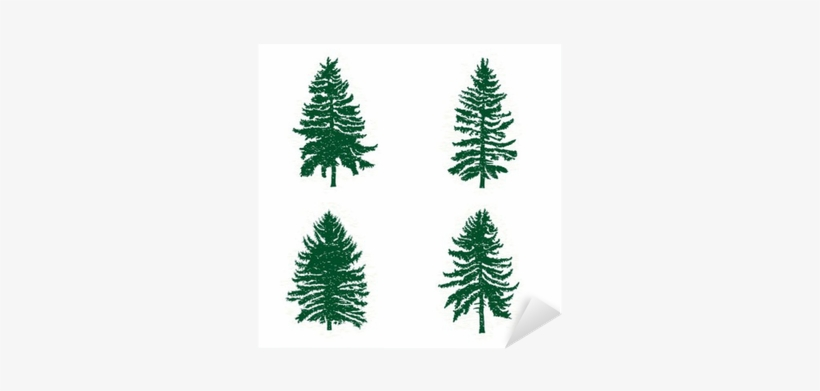 Set Of Different Silhouettes Of Green Pine Trees, Vector - Woods Fir Trees, transparent png #1088135