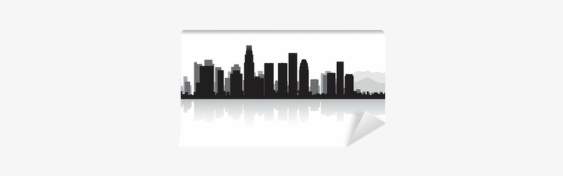 Los Angeles City Skyline Silhouette Wall Mural • Pixers® - Los Santos City Skyline Vector Png, transparent png #1088466