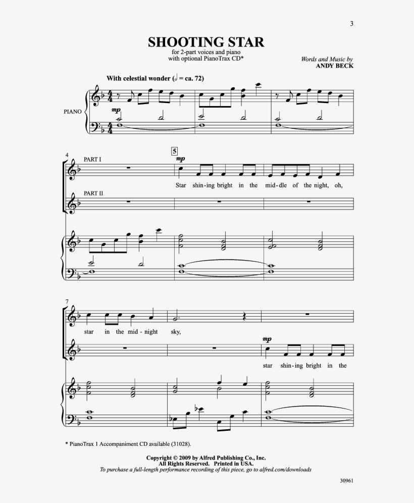 Shooting Star Thumbnail Shooting Star Thumbnail Shooting - Shooting Stars Sheet Music Easy, transparent png #1088956