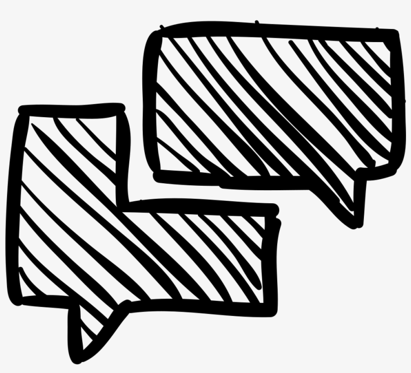 Chat Speech Bubbles Sketch - Chat Sketch Icon, transparent png #1089213