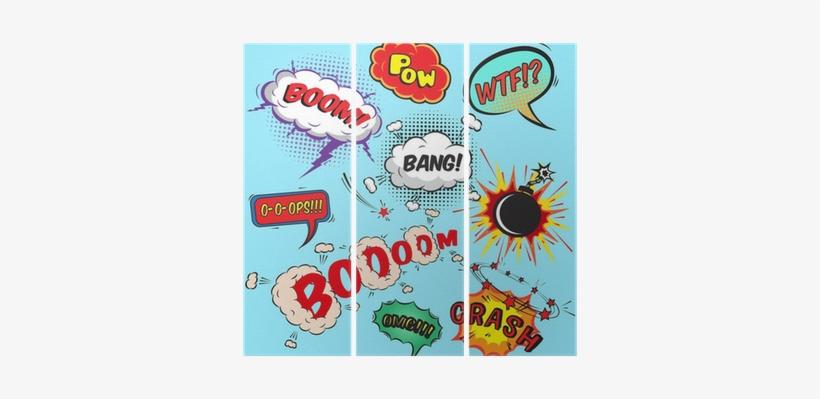 Comic Speech Bubbles Design Elements Collection Triptych - Comic Pop Wall Mural, transparent png #1089249