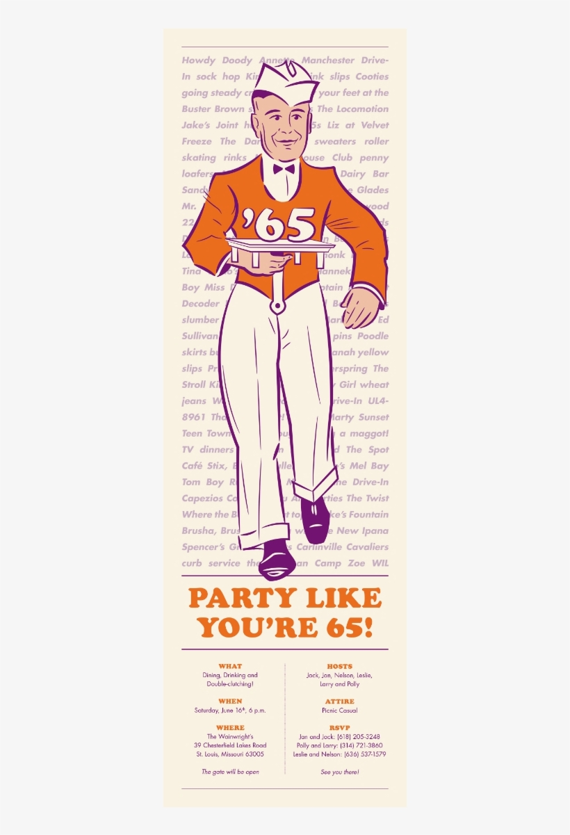 Party Like Youre 65 Birthday Invitation Transparent Png 1090201