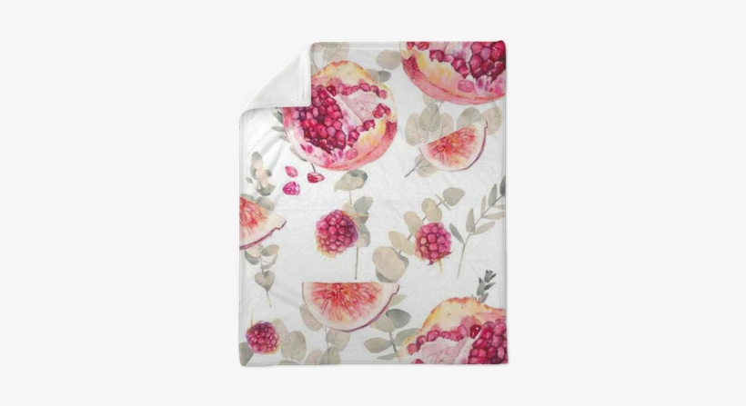 Watercolor Exotic Fruits Seamless Pattern With Eucalyptus - Food Wallpaper Seamless Tile, transparent png #1090887