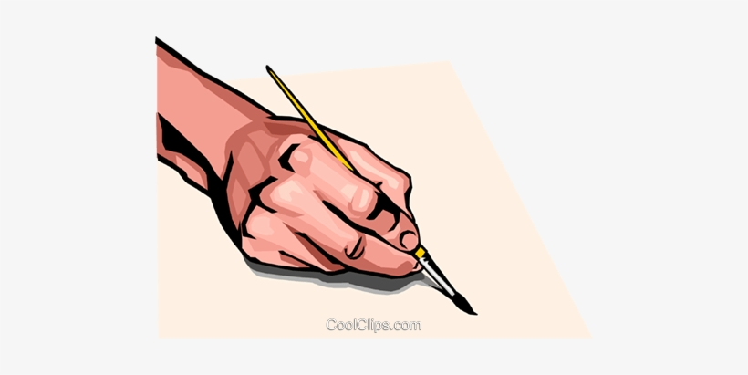 Hand With Paint Brush Royalty Free Vector Clip Art - Hand Holding A Paintbrush, transparent png #1091159