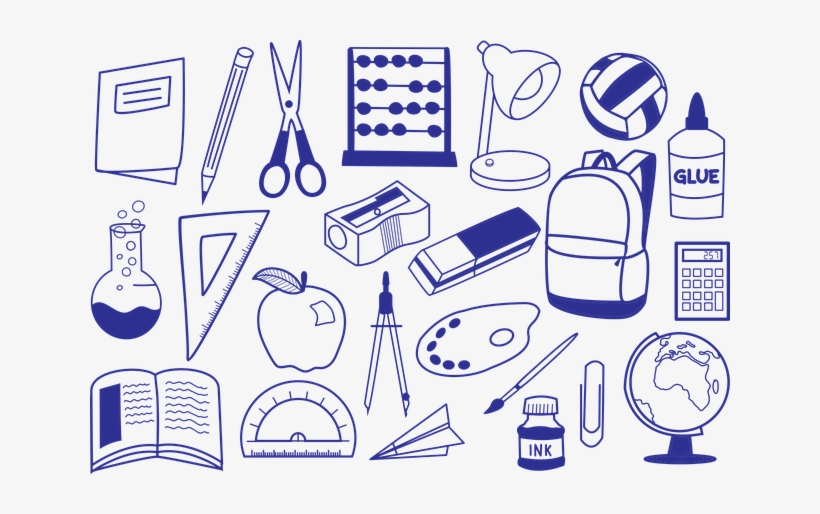School Supplies - School Supplies To Colour, transparent png #1096183