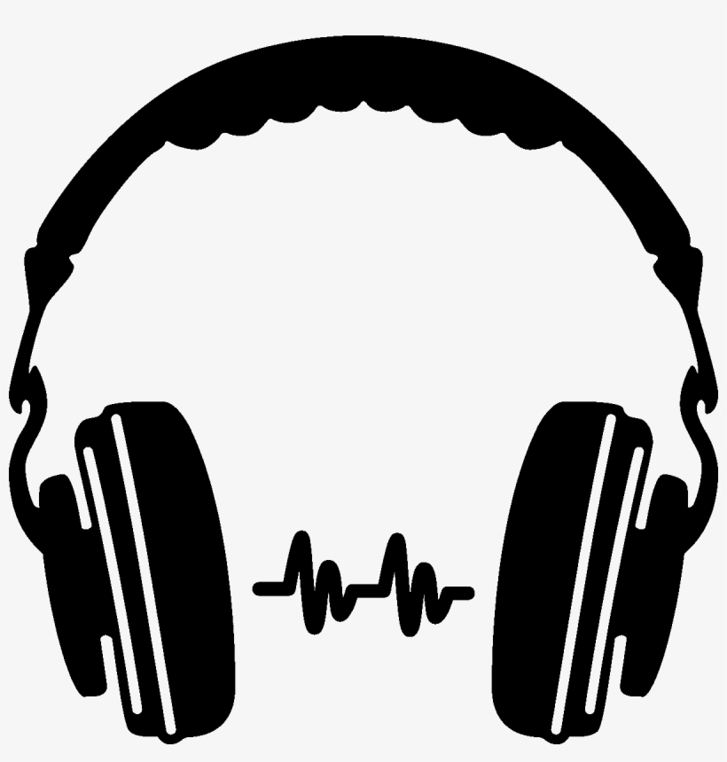 Dj Silhouette Png Black And White Stock - Headphones Png ...
