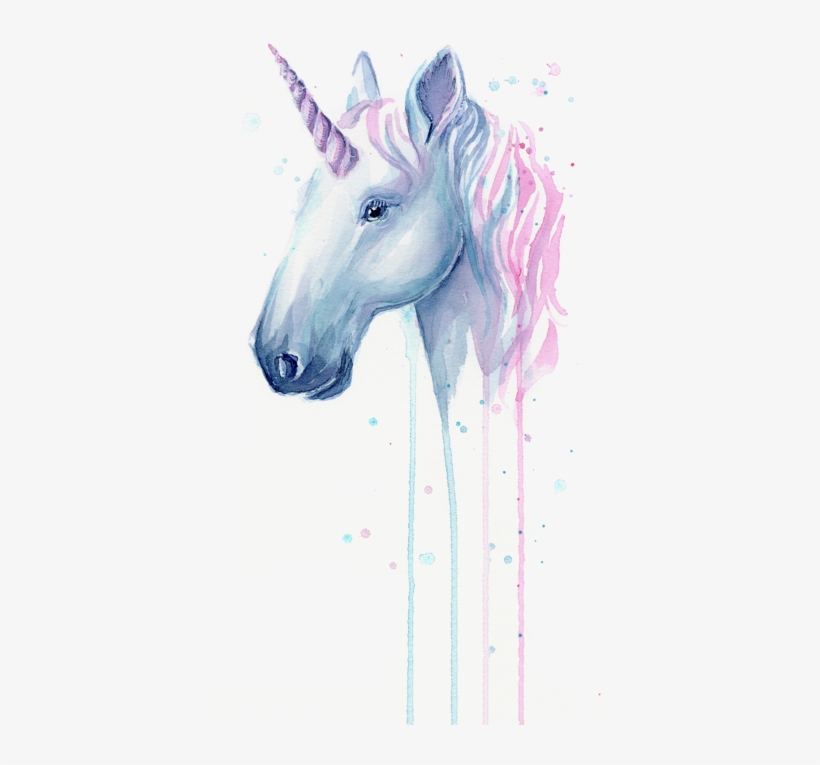 Click And Drag To Re-position The Image, If Desired - Unicorn Watercolor Painting, transparent png #110653