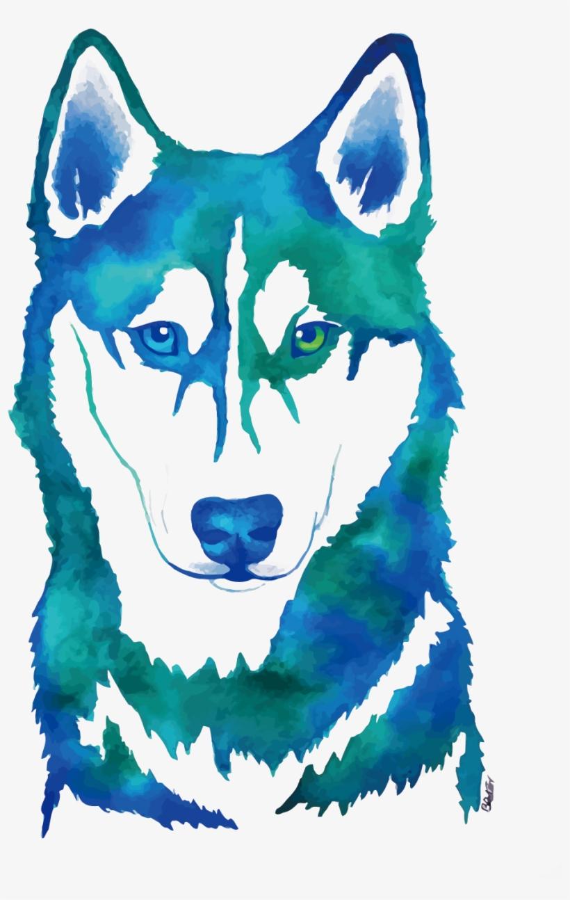 Siberian Husky Watercolor Painting