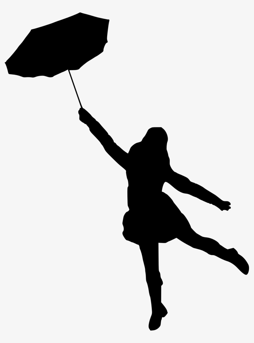 Silhouette With Umbrella At Getdrawings - Silhouette Of A Woman With Umbrella, transparent png #110943