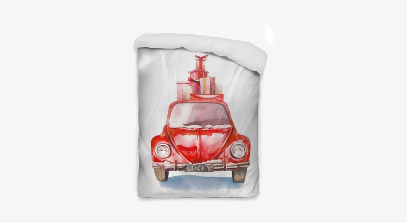 Watercolor Retro Car With Gift Boxes On Top - Christmas Day, transparent png #111347