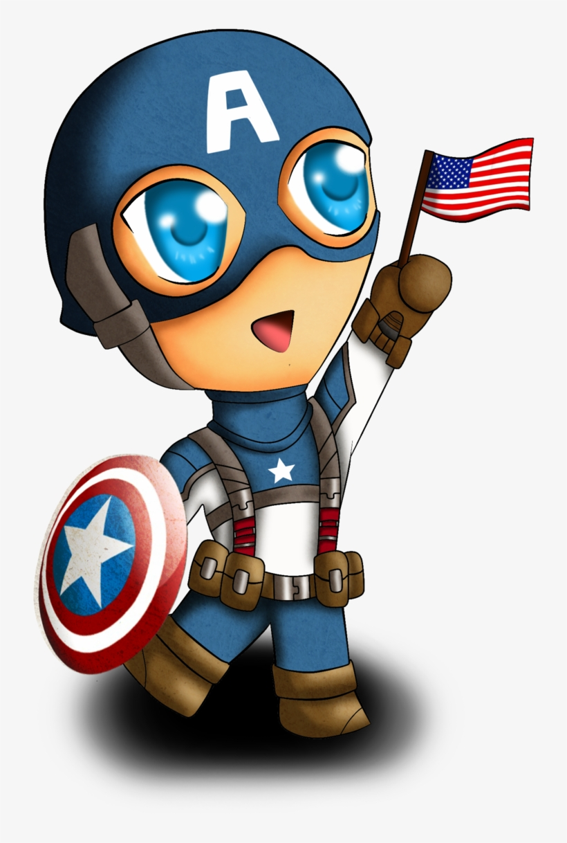 Captain America - Captain America Cartoon Chibi, transparent png #112122