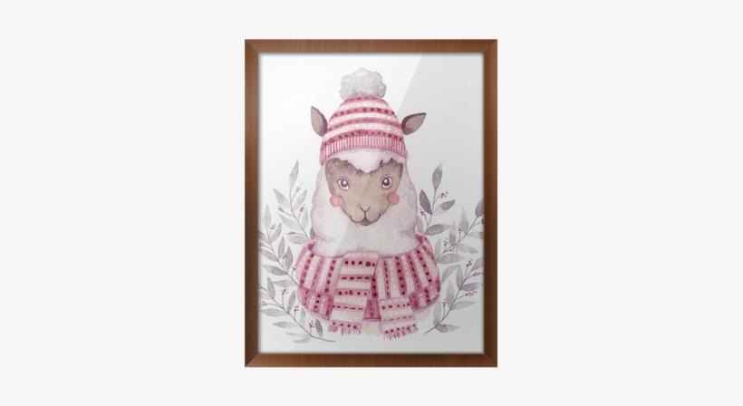 Watercolor Vector Alpaca Illustration - Christmas Watercolor Image Illustration, transparent png #113987